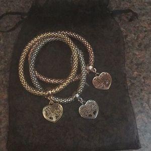 Pandora Box heart shape tree of life bracelet set